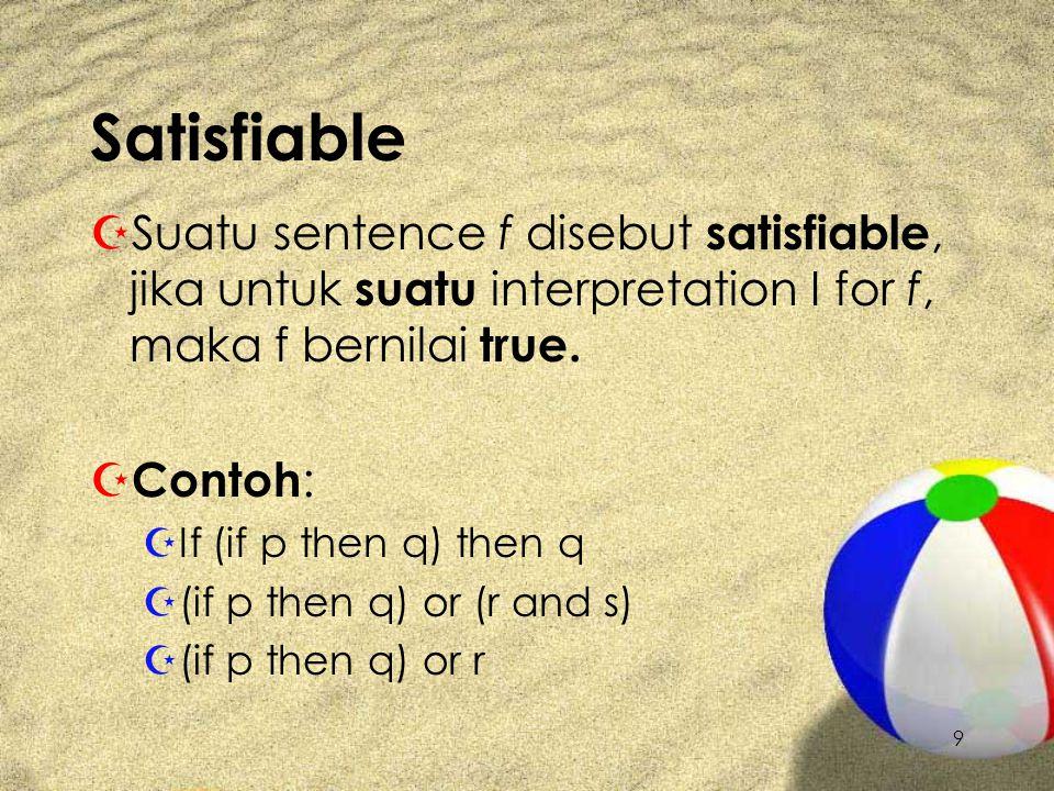 Satisfiable Suatu sentence f disebut satisfiable, jika untuk suatu interpretation I for f, maka f bernilai true.