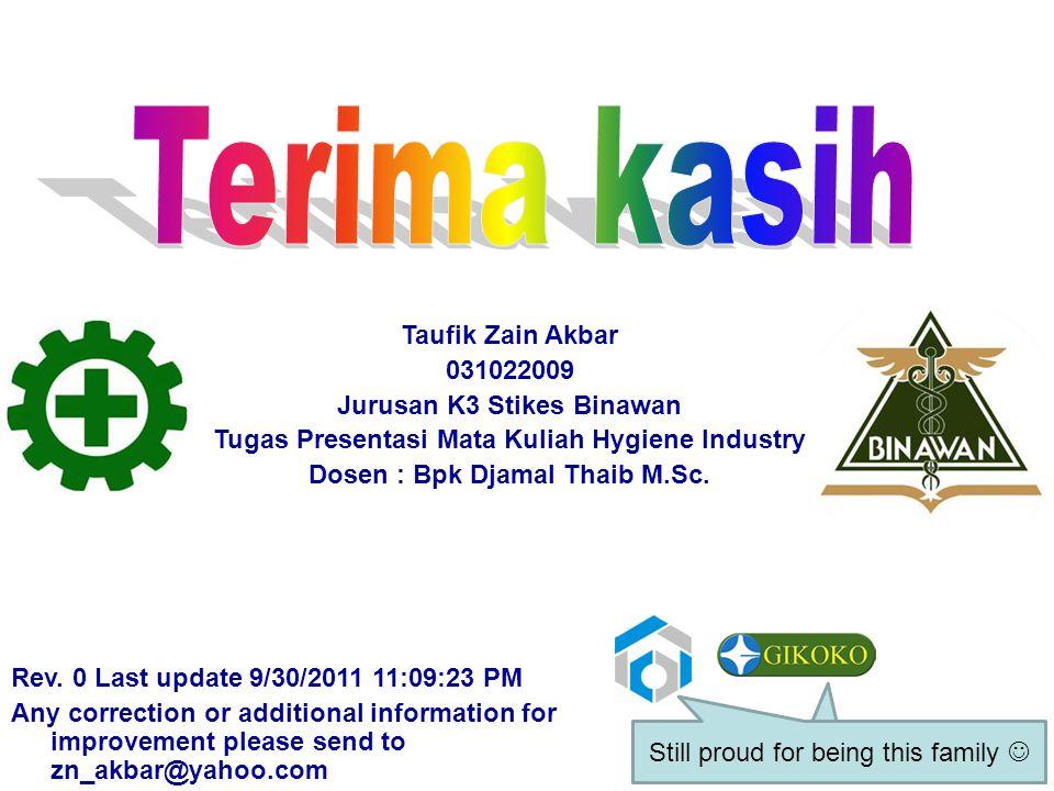 Terima kasih Taufik Zain Akbar 031022009 Jurusan K3 Stikes Binawan