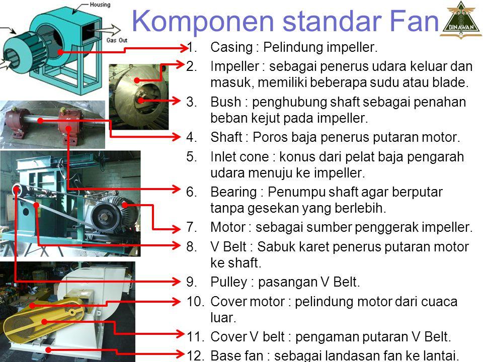 Komponen standar Fan Casing : Pelindung impeller.