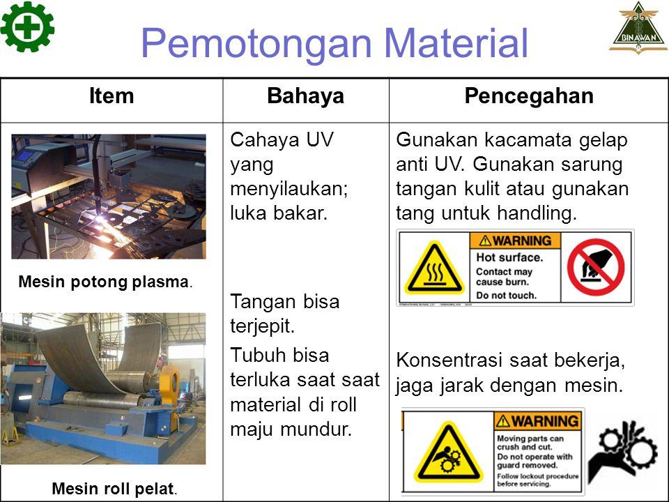 Pemotongan Material Item Bahaya Pencegahan