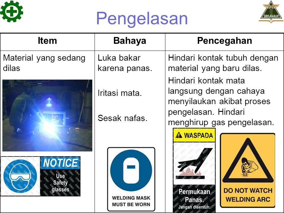 Pengelasan Item Bahaya Pencegahan Material yang sedang dilas