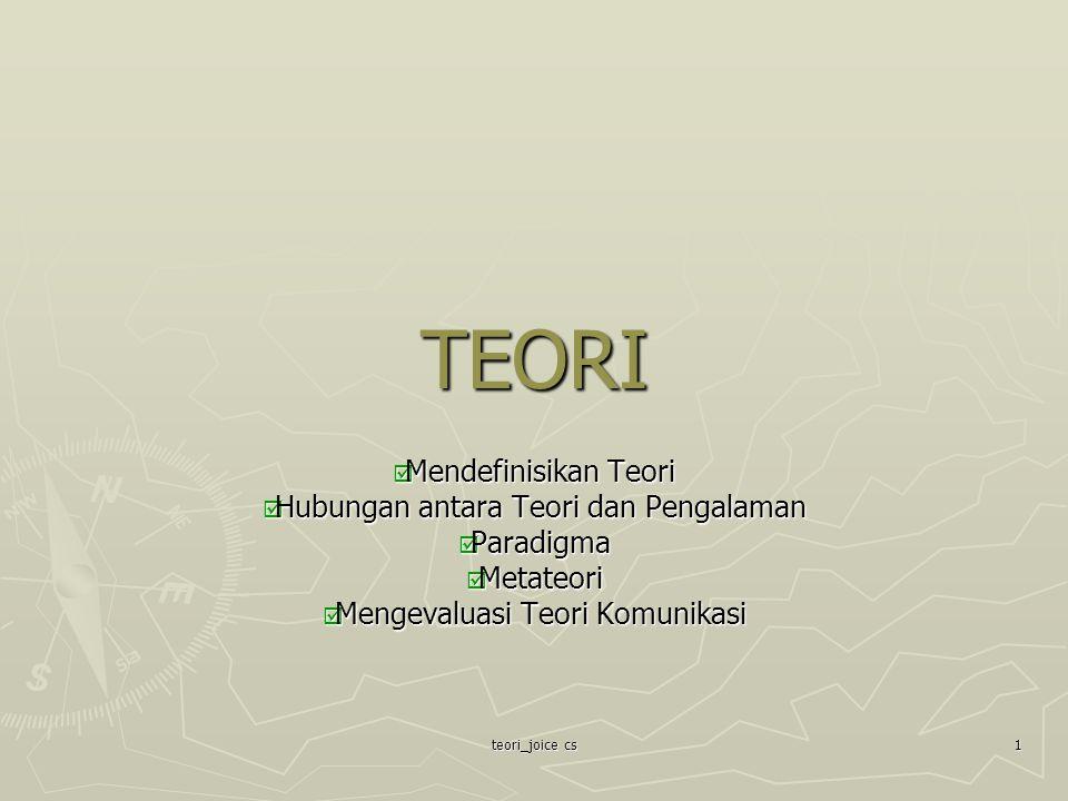TEORI Mendefinisikan Teori Hubungan antara Teori dan Pengalaman