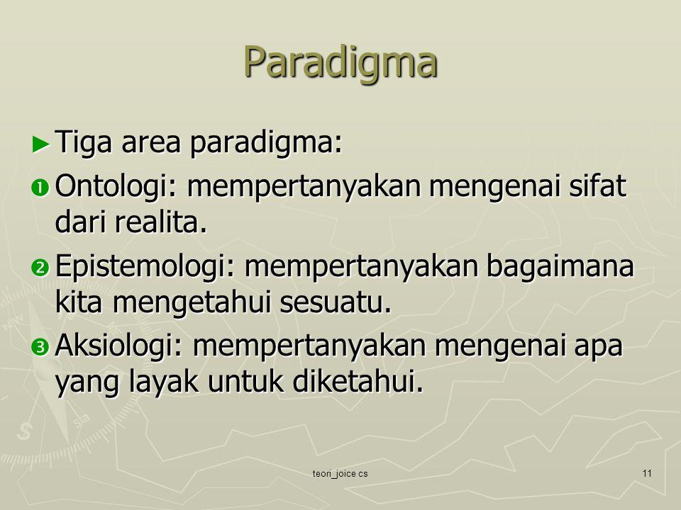 Paradigma Tiga area paradigma: