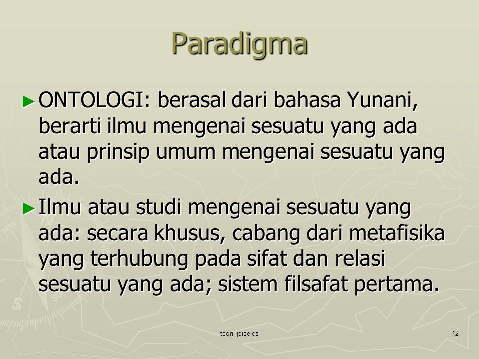 Paradigma ONTOLOGI: berasal dari bahasa Yunani, berarti ilmu mengenai sesuatu yang ada atau prinsip umum mengenai sesuatu yang ada.