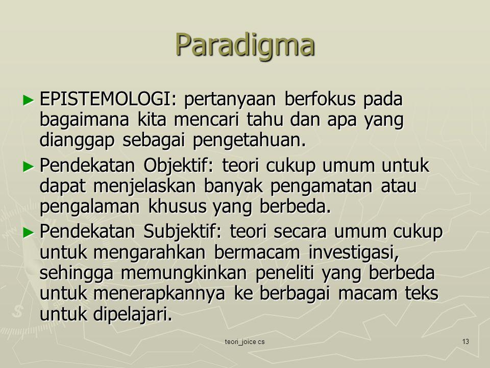 Paradigma EPISTEMOLOGI: pertanyaan berfokus pada bagaimana kita mencari tahu dan apa yang dianggap sebagai pengetahuan.