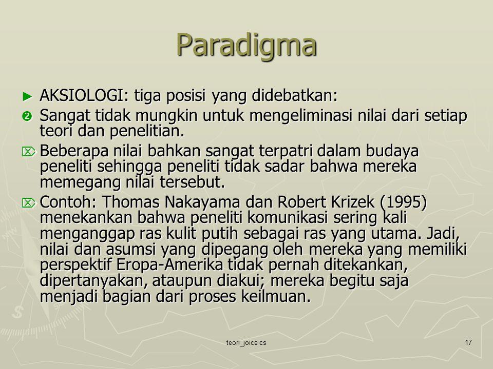 Paradigma AKSIOLOGI: tiga posisi yang didebatkan: