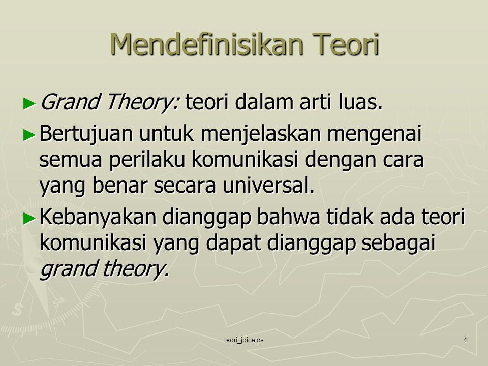 Mendefinisikan Teori Grand Theory: teori dalam arti luas.