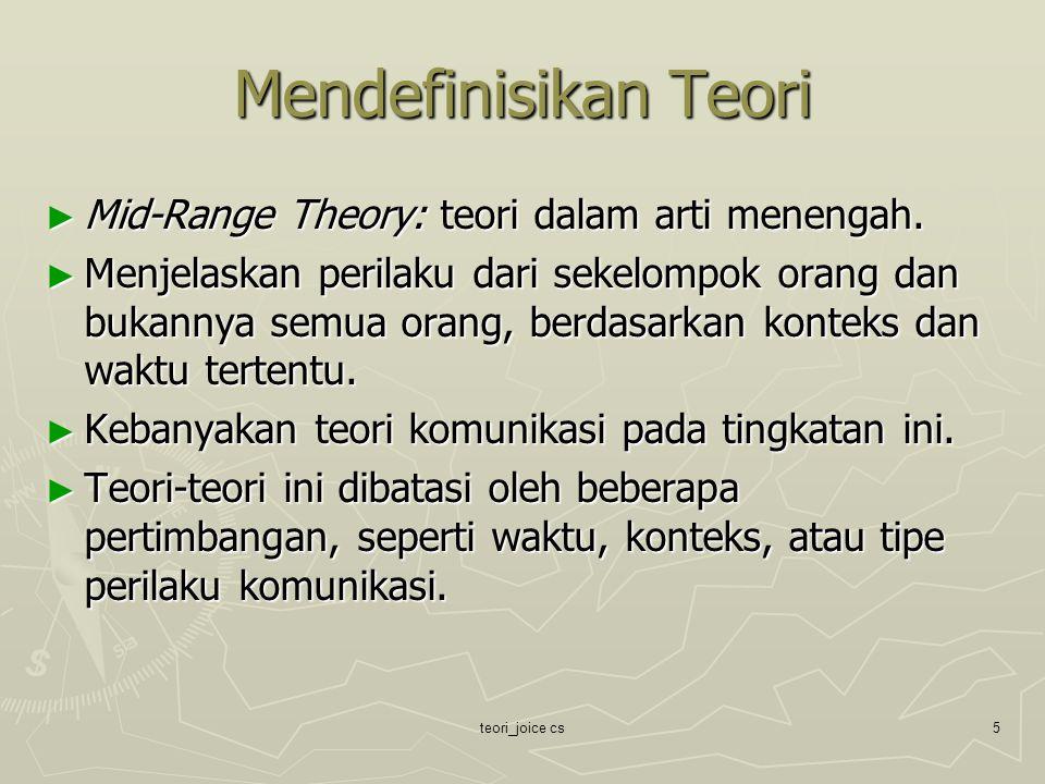 Mendefinisikan Teori Mid-Range Theory: teori dalam arti menengah.