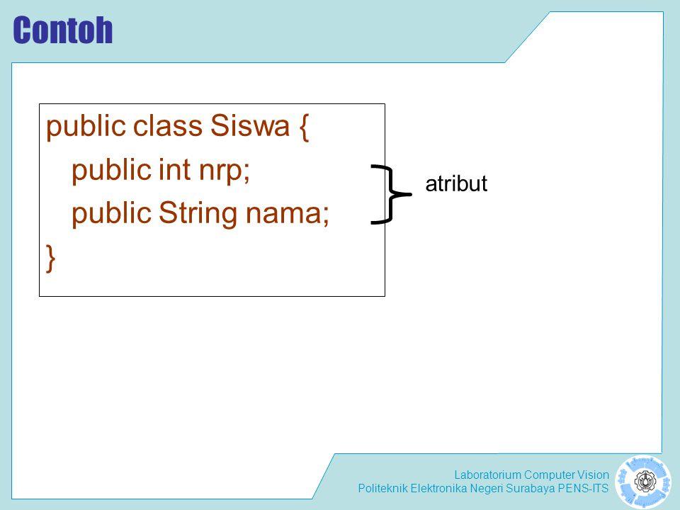 Contoh public class Siswa { public int nrp; public String nama; }