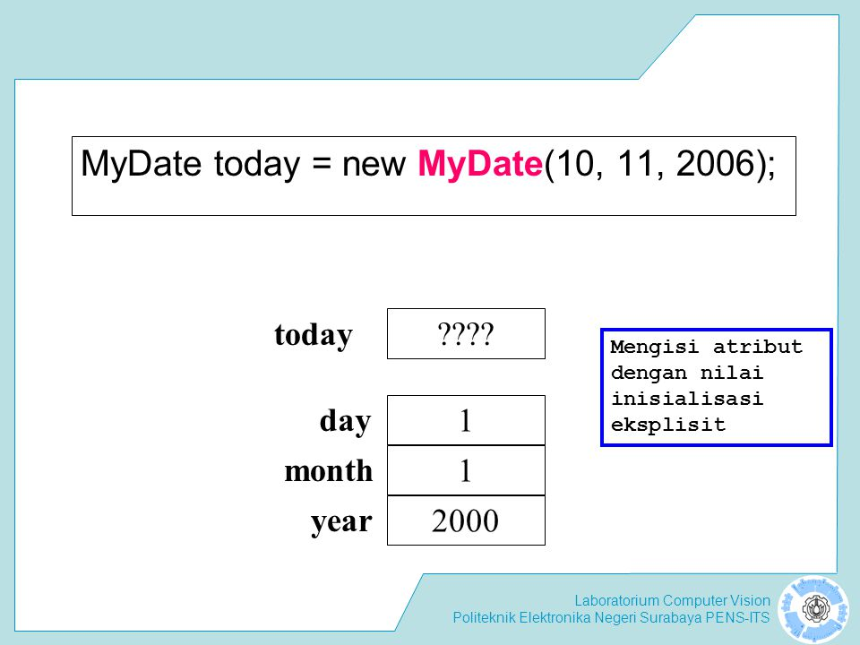 MyDate today = new MyDate(10, 11, 2006);