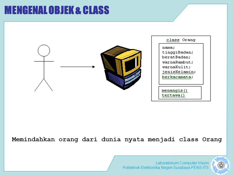MENGENAL OBJEK & CLASS Memindahkan orang dari dunia nyata menjadi class Orang