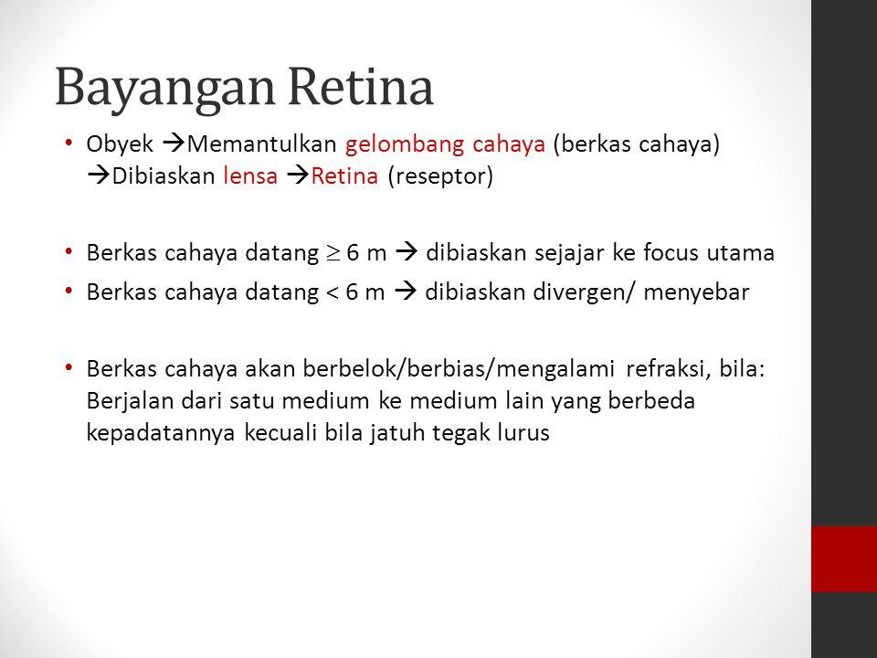 Bayangan Retina Obyek Memantulkan gelombang cahaya (berkas cahaya) Dibiaskan lensa Retina (reseptor)