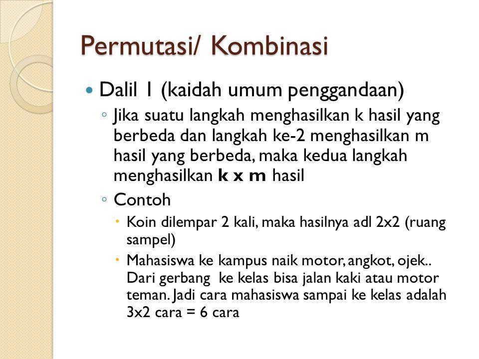 Permutasi/ Kombinasi Dalil 1 (kaidah umum penggandaan)