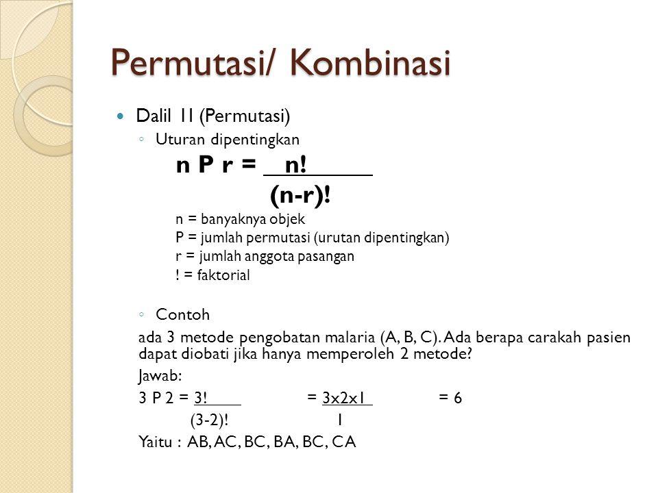 Permutasi/ Kombinasi (n-r)! Dalil 1I (Permutasi) Uturan dipentingkan