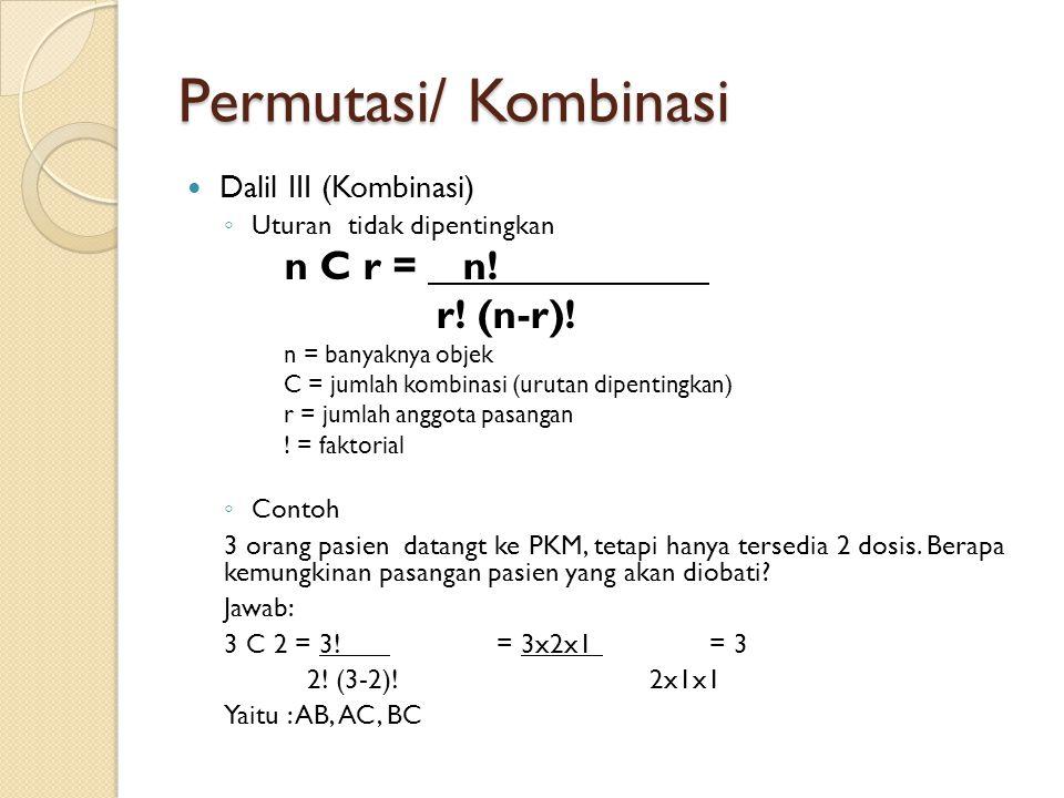 Permutasi/ Kombinasi r! (n-r)! Dalil III (Kombinasi)