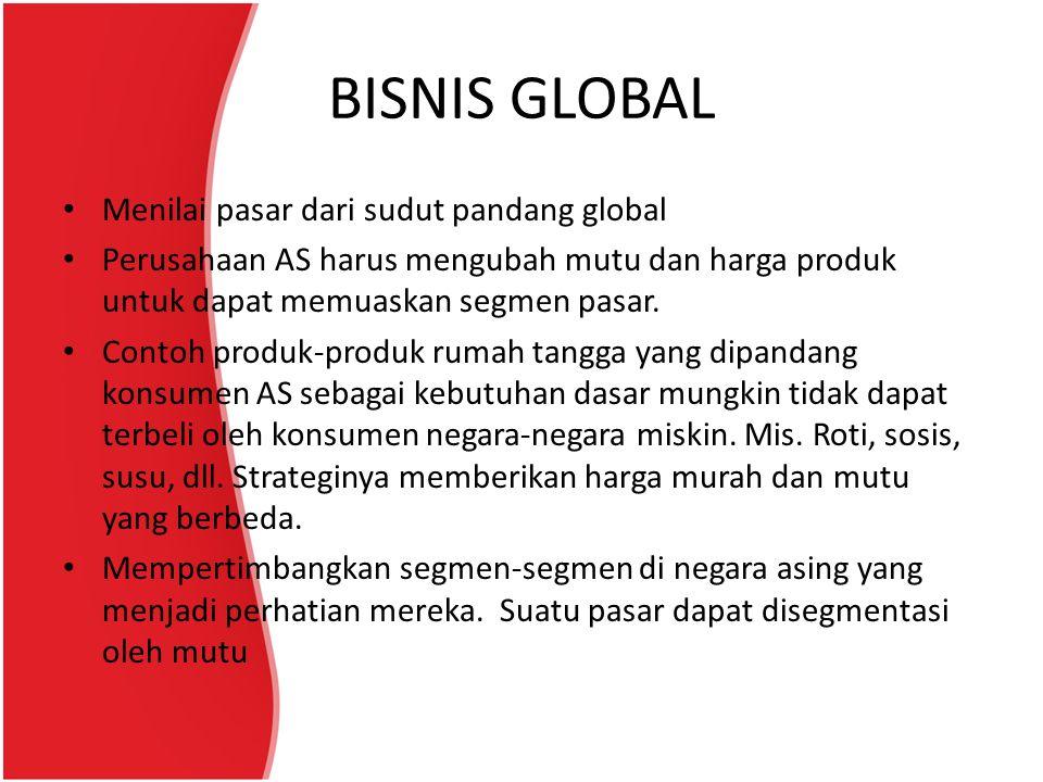 BISNIS GLOBAL Menilai pasar dari sudut pandang global