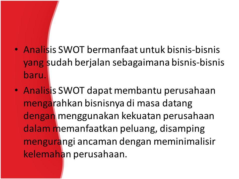 Analisis SWOT bermanfaat untuk bisnis-bisnis yang sudah berjalan sebagaimana bisnis-bisnis baru.