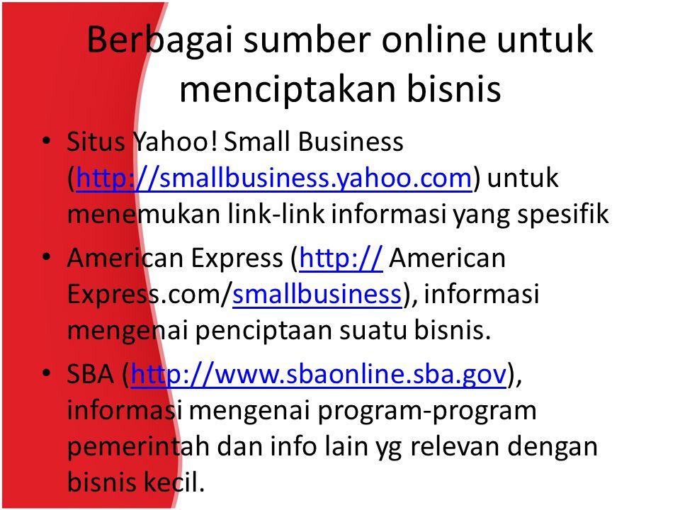 Berbagai sumber online untuk menciptakan bisnis