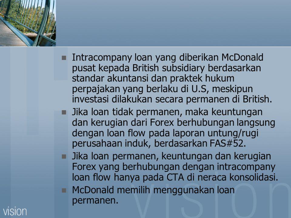 Intracompany loan yang diberikan McDonald pusat kepada British subsidiary berdasarkan standar akuntansi dan praktek hukum perpajakan yang berlaku di U.S, meskipun investasi dilakukan secara permanen di British.