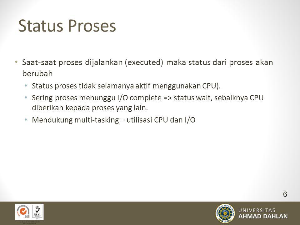 Status Proses Saat-saat proses dijalankan (executed) maka status dari proses akan berubah. Status proses tidak selamanya aktif menggunakan CPU).