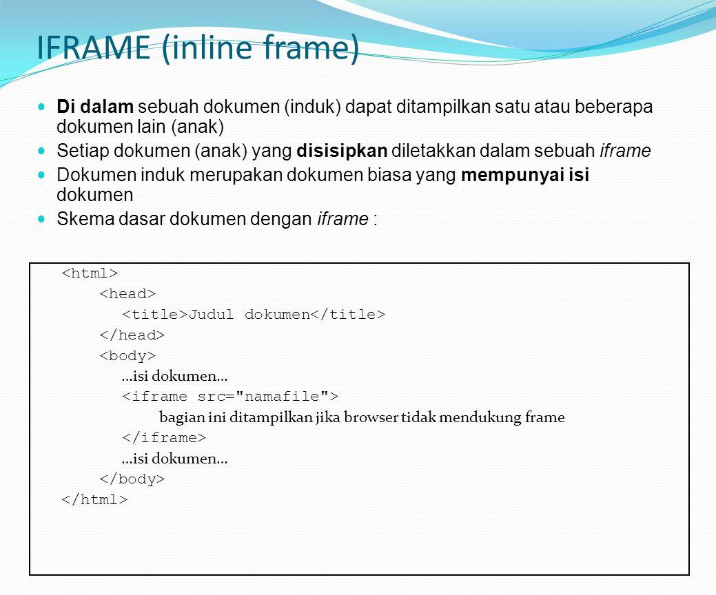 IFRAME (inline frame) Di dalam sebuah dokumen (induk) dapat ditampilkan satu atau beberapa dokumen lain (anak)