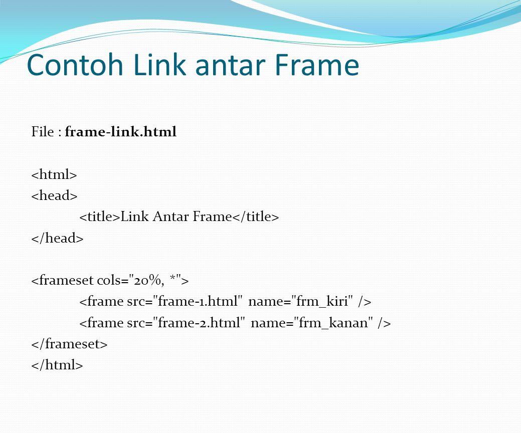 Contoh Link antar Frame