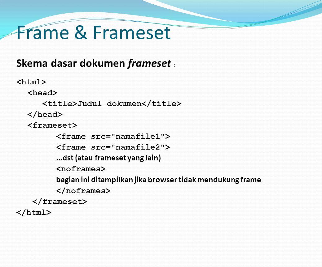 Frame & Frameset Skema dasar dokumen frameset : <html>
