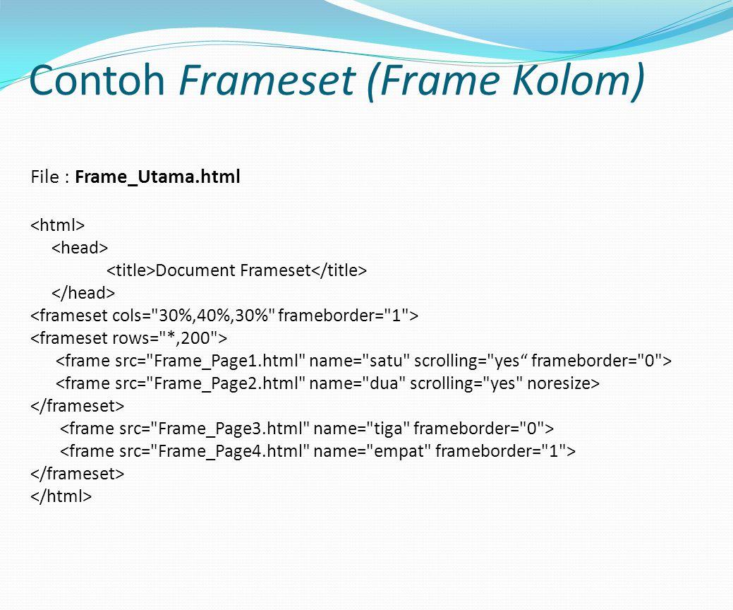 Contoh Frameset (Frame Kolom)