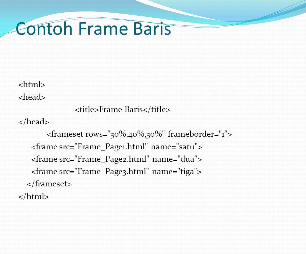 Contoh Frame Baris