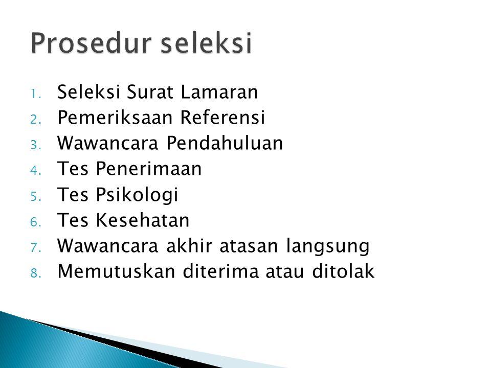 Prosedur seleksi Seleksi Surat Lamaran Pemeriksaan Referensi