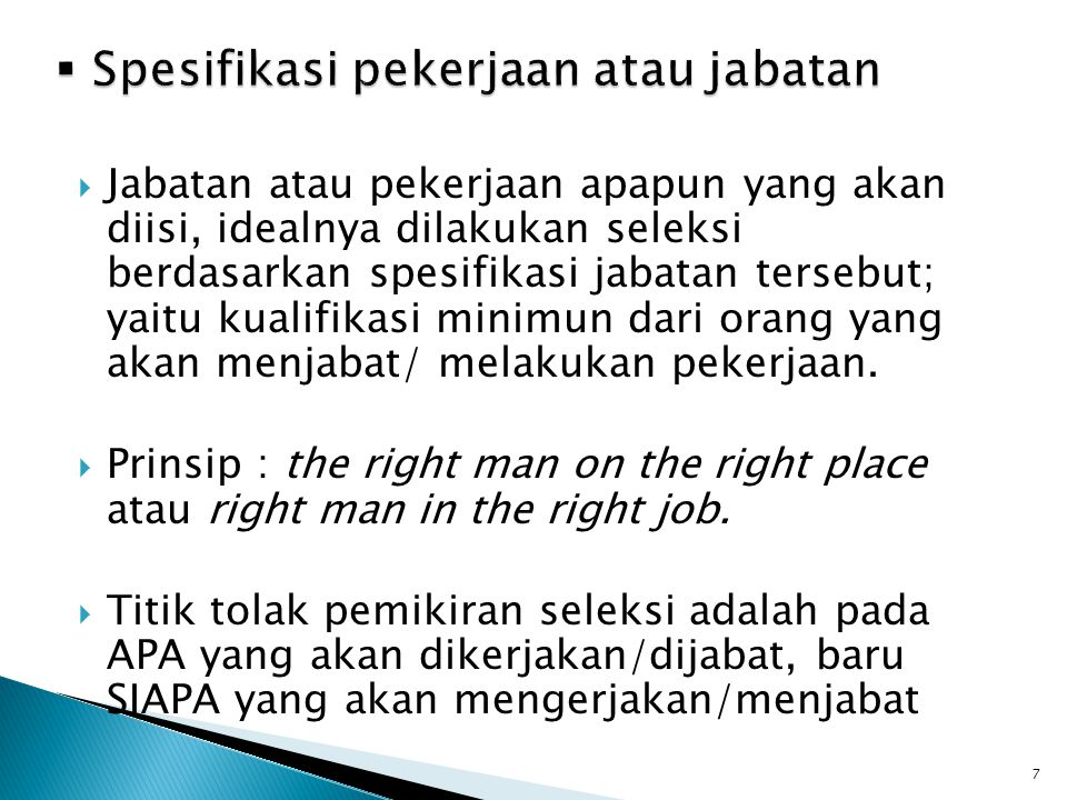 Spesifikasi pekerjaan atau jabatan