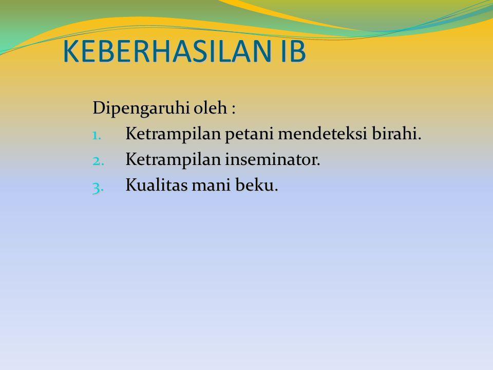 KEBERHASILAN IB Dipengaruhi oleh :