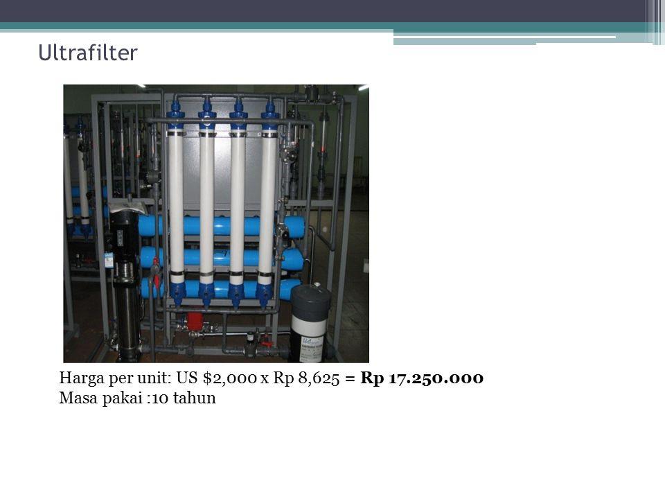Ultrafilter Harga per unit: US $2,000 x Rp 8,625 = Rp 17.250.000