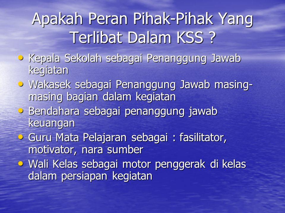 Apakah Peran Pihak-Pihak Yang Terlibat Dalam KSS