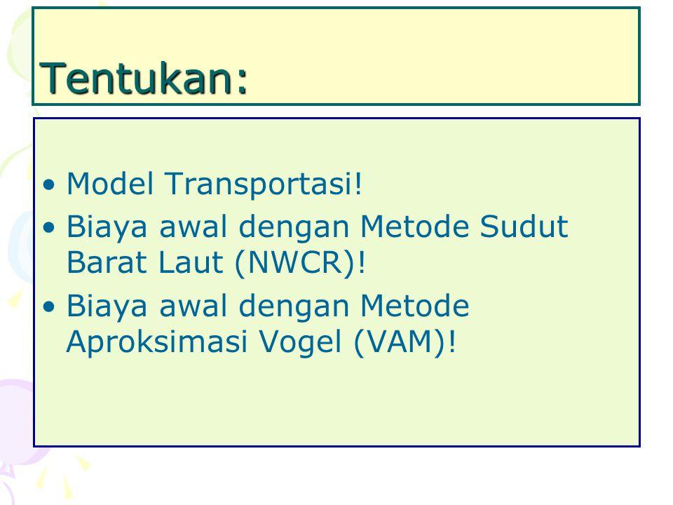 Tentukan: Model Transportasi!