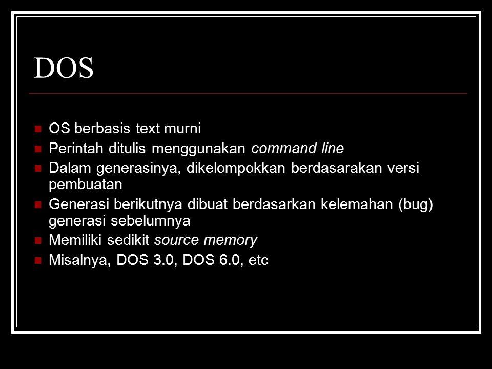 DOS OS berbasis text murni Perintah ditulis menggunakan command line
