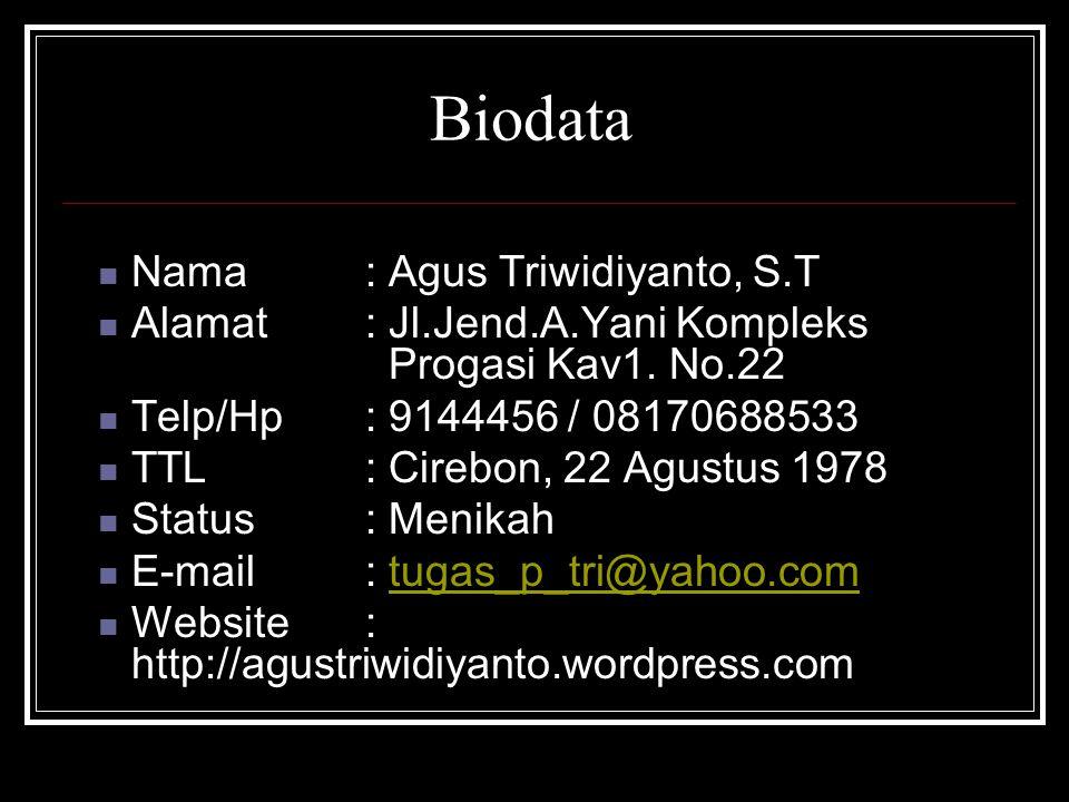 Biodata Nama : Agus Triwidiyanto, S.T