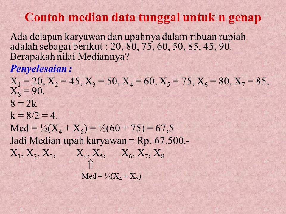 Contoh median data tunggal untuk n genap