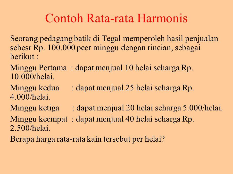 Contoh Rata-rata Harmonis