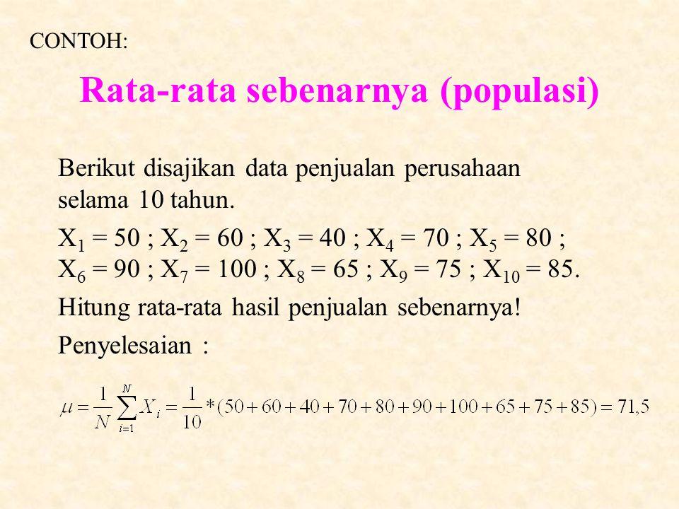 Rata-rata sebenarnya (populasi)