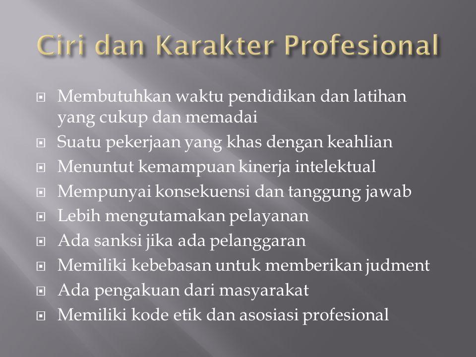 Ciri dan Karakter Profesional