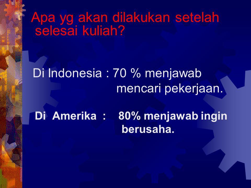 Di Indonesia : 70 % menjawab mencari pekerjaan.