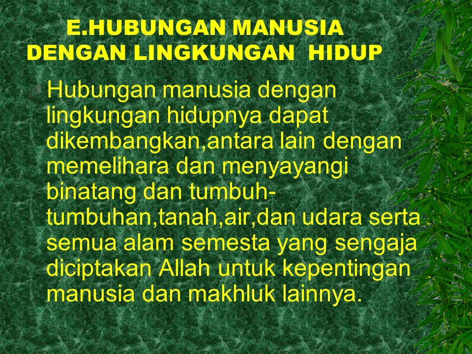 E.HUBUNGAN MANUSIA DENGAN LINGKUNGAN HIDUP