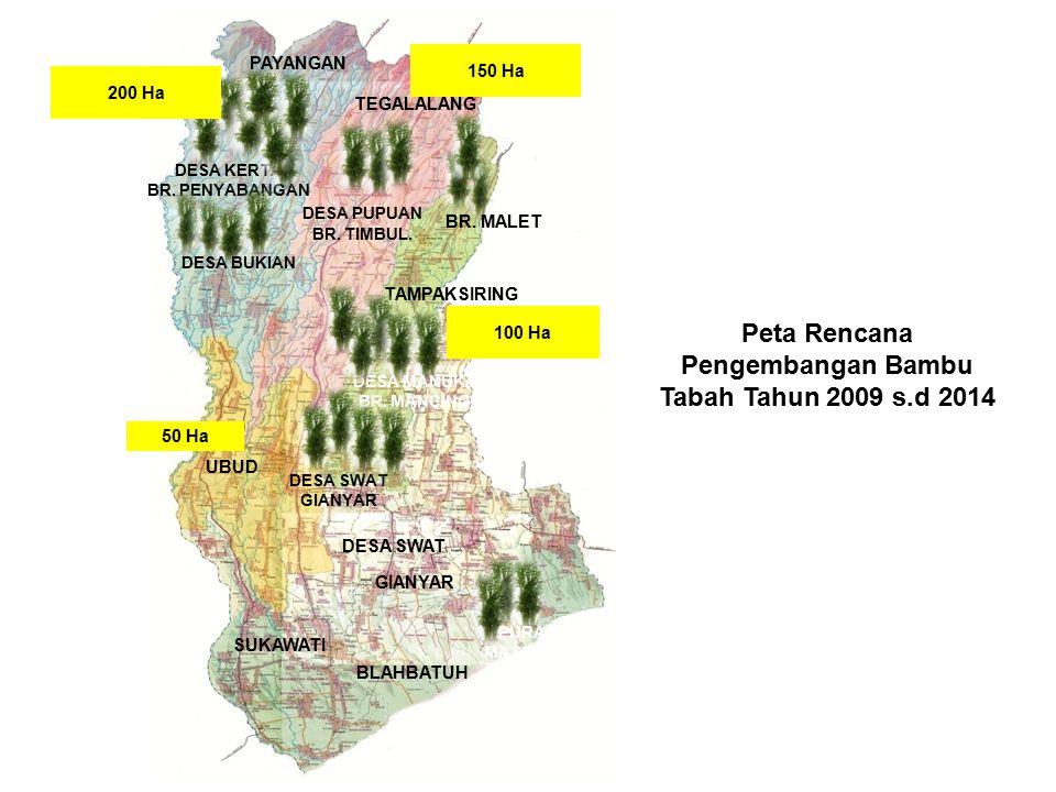 Peta Rencana Pengembangan Bambu Tabah Tahun 2009 s.d 2014