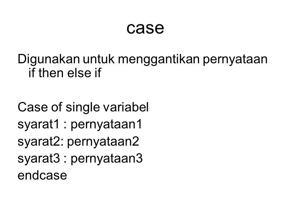 case Digunakan untuk menggantikan pernyataan if then else if