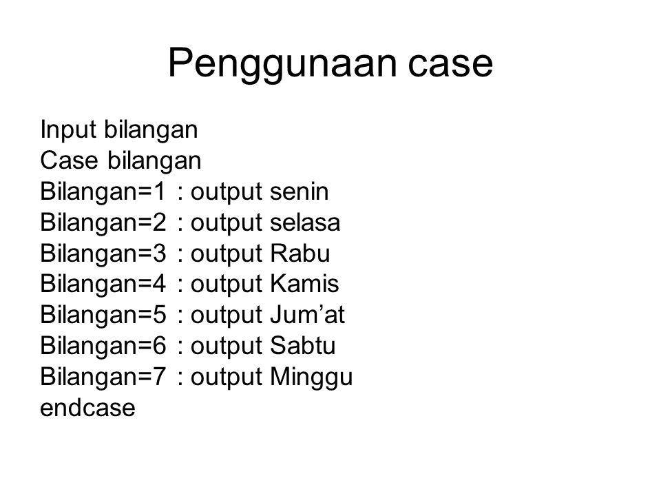 Penggunaan case Input bilangan Case bilangan Bilangan=1 : output senin