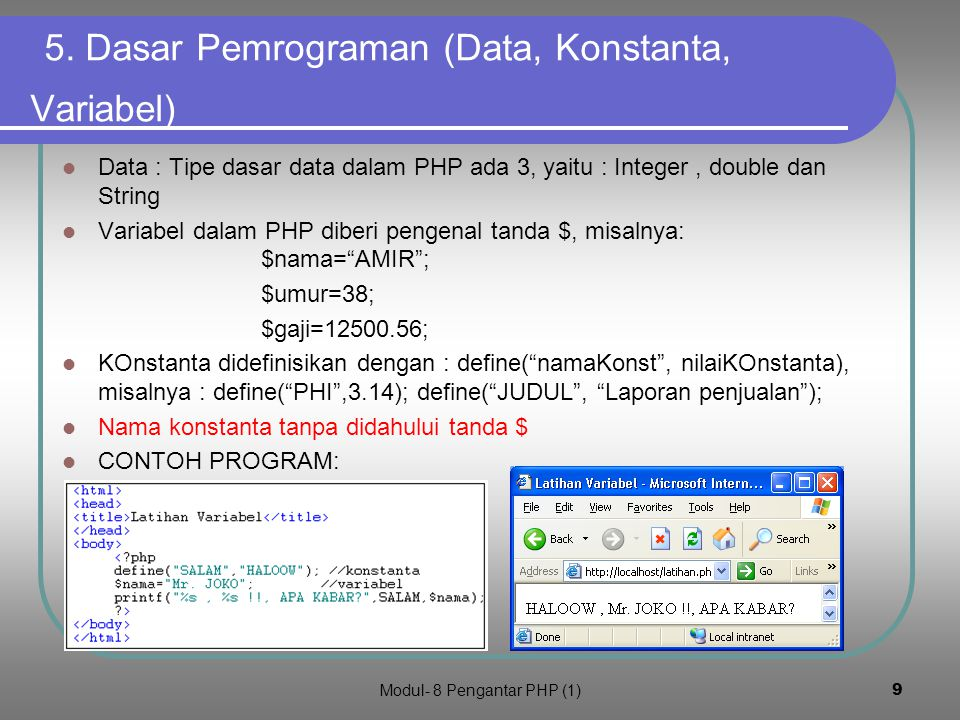 5. Dasar Pemrograman (Data, Konstanta, Variabel)