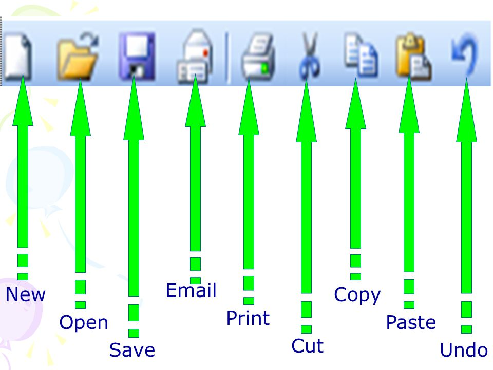 . Email Print Cut New Open Save Copy Paste Undo