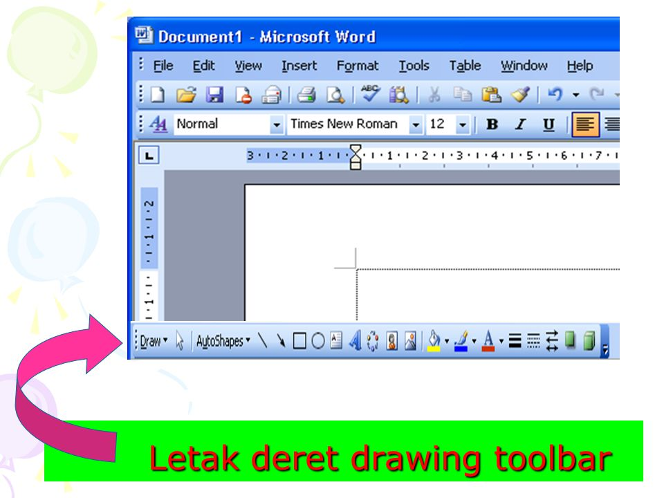 Letak deret drawing toolbar