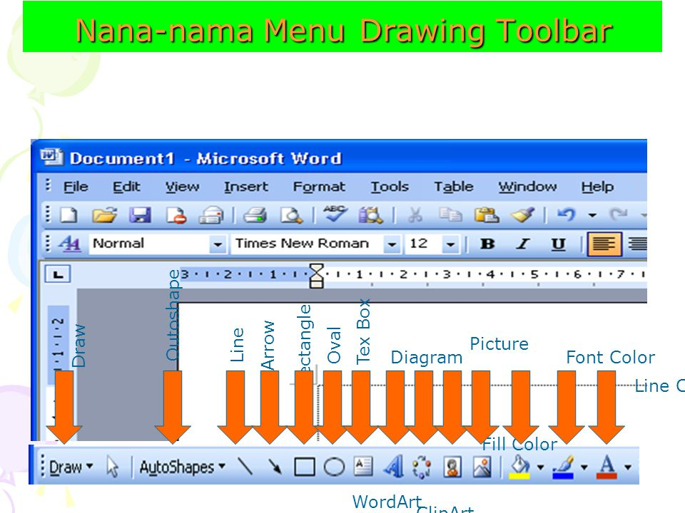 Nana-nama Menu Drawing Toolbar